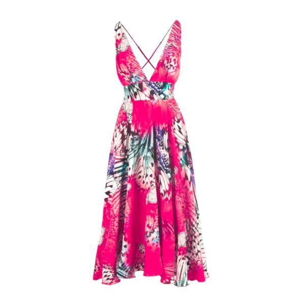 Pink, Airy, flared, dress, Mid-calf, Pink, Viscose , Cosel, Poland