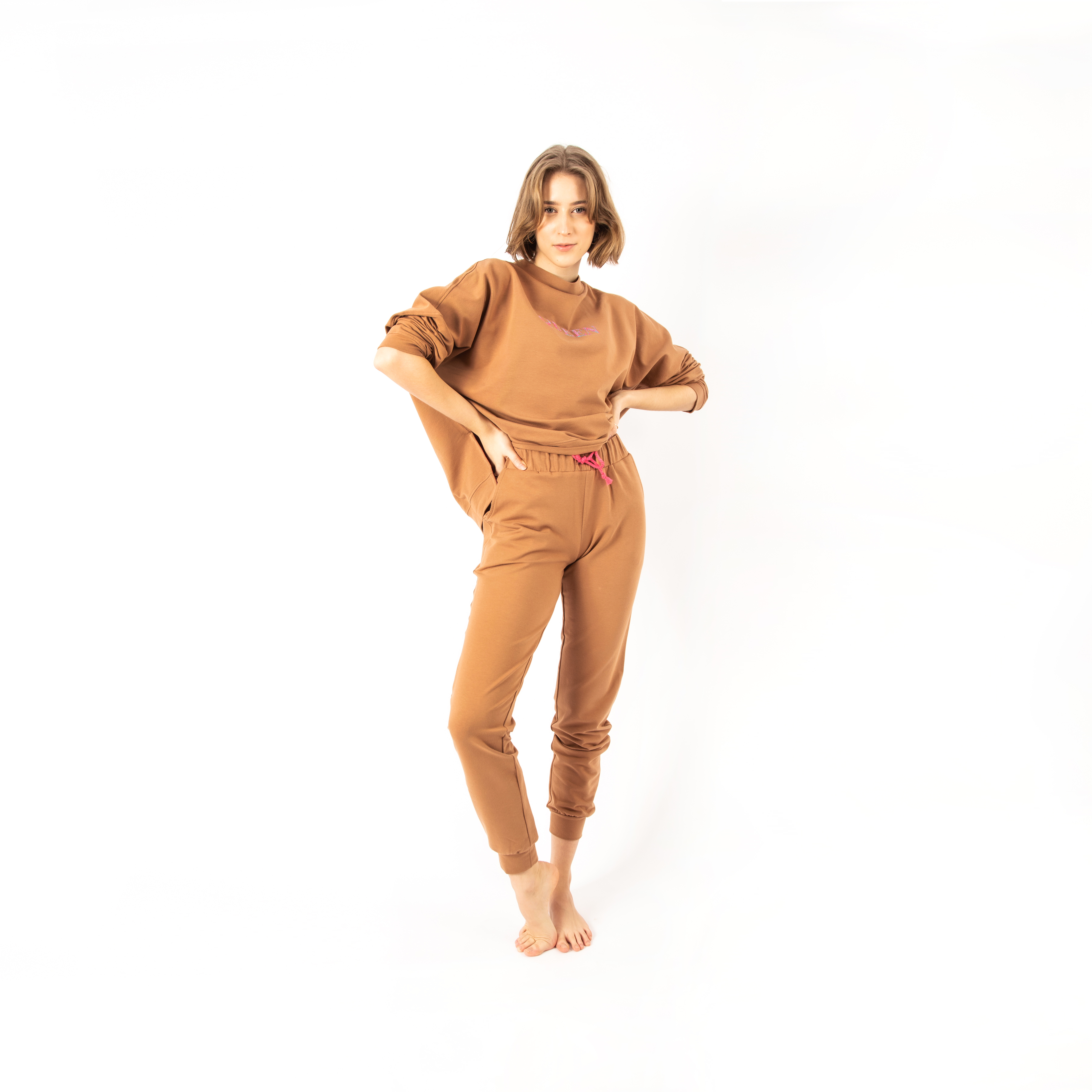 Camel Tracksuit With Embroidery